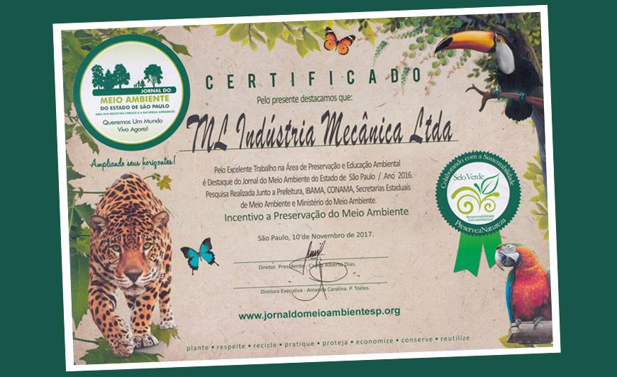 """TNL TECNAL se destaca na preservação e educação ambiental e recebe """"Selo Verde"""""""